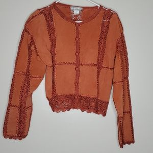 Unique S.M.H. Leather Crocheted Knitted Patchwork